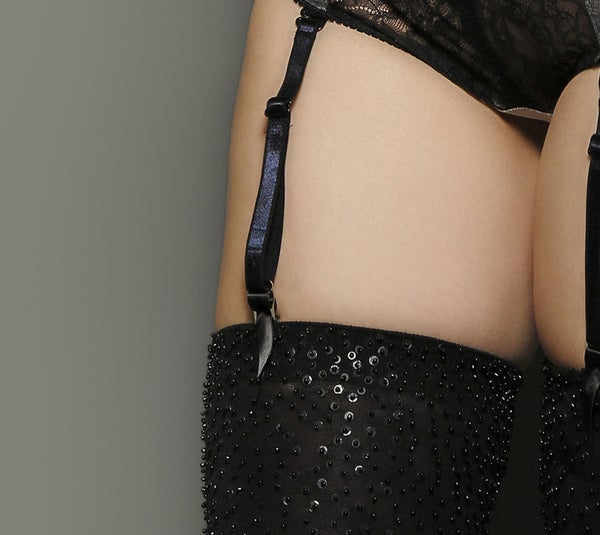 Image of Black Sequins Opaque stockings
