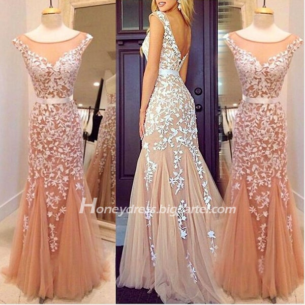 Image of Nude Cap Sleeves Illusion V Back Sheath Evening Dress With Lace Appliques