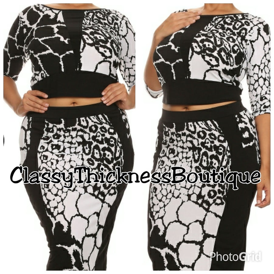 Image of B/W Cheetah Print Crop Set