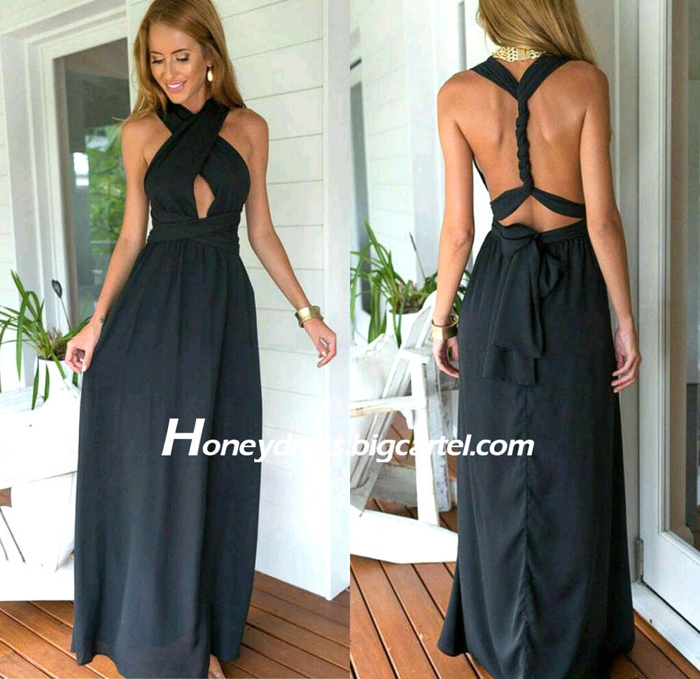 Image of Black Chiffon Halter Long Prom Dress With Cut Out Bodice