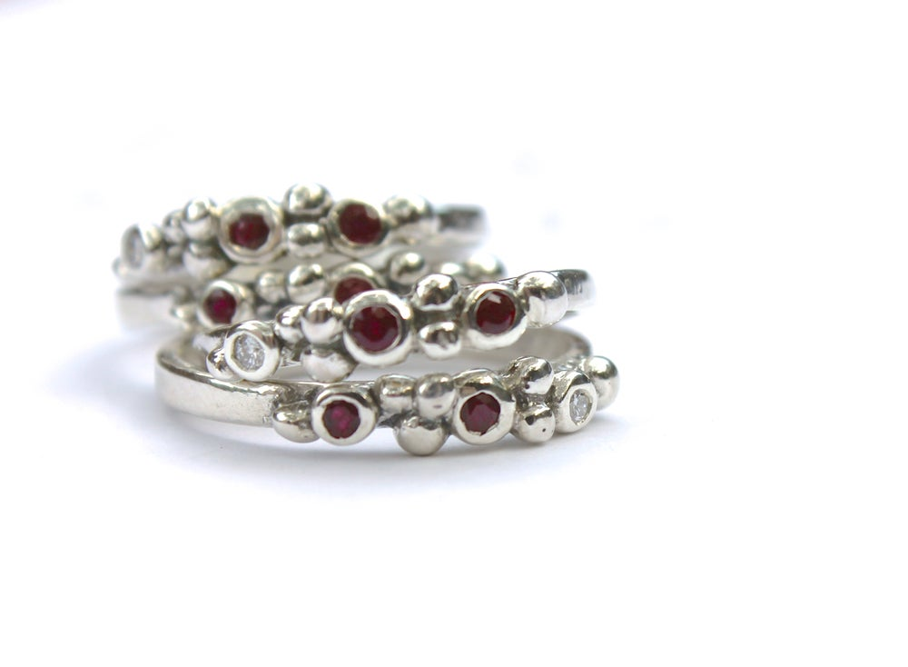 Image of boho ruby and canadian diamond wedding band