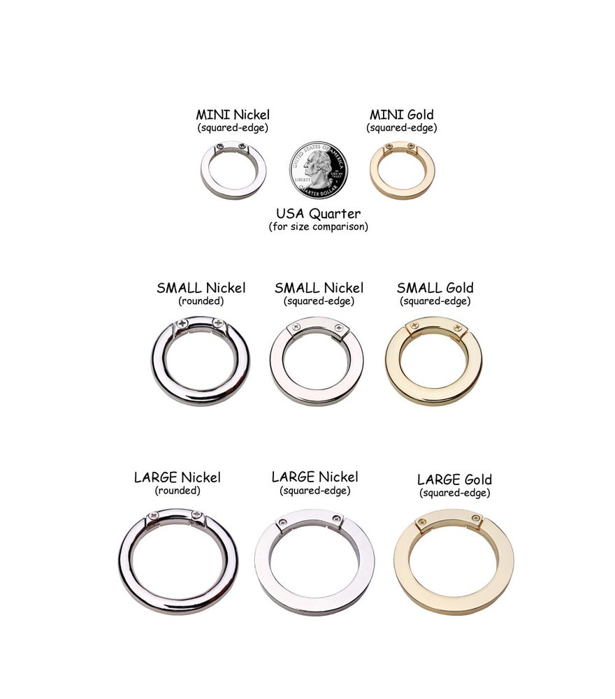Image of O-Rings Secured with Screws - Large, Small or Mini - Handbag/Purse Accessory - Your Choice of Finish
