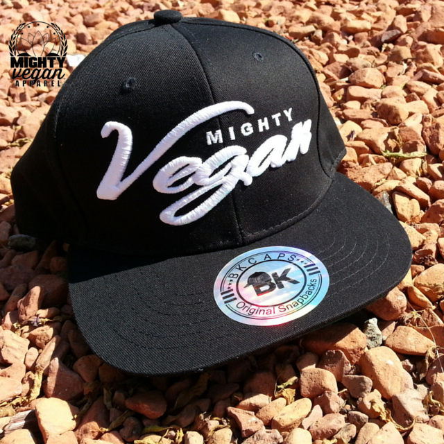 Image of MVA WHITE CURSIVE 3D EMBROIDERY on Black snapback hat