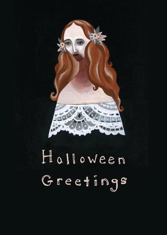 Image of Halloween Greetings blank card (Lucy)