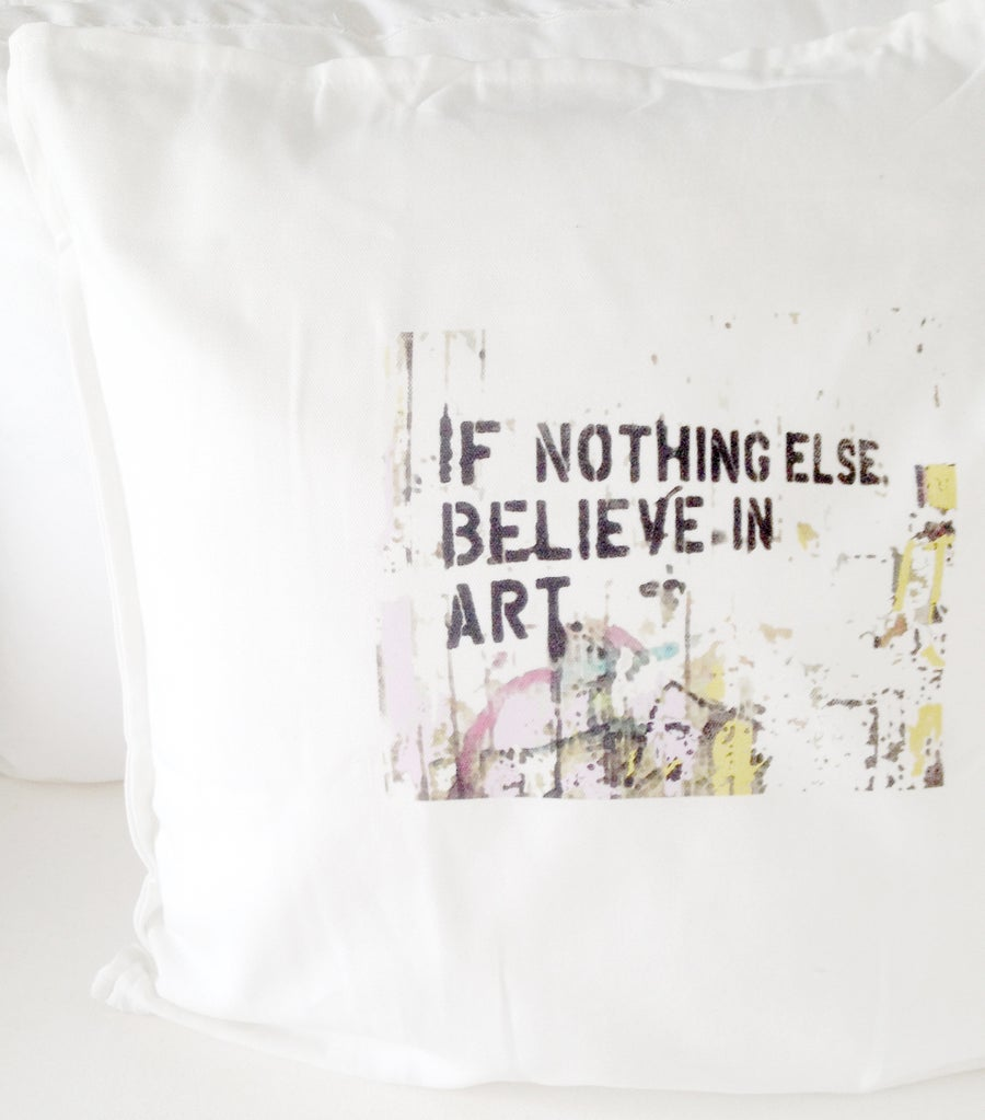 "Image of ""BELIEVE IN ART"" CUSHION COVER (WHITE)"
