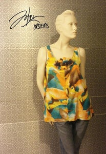 Image of Colorful Sleeveless tunic with removable brooch