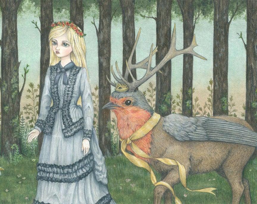 Image of The Royal Deerbird 14x11 print