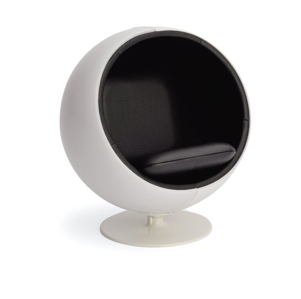Image of Designer Chairs Miniature – Ball Chair White/black by Eero Aarnio