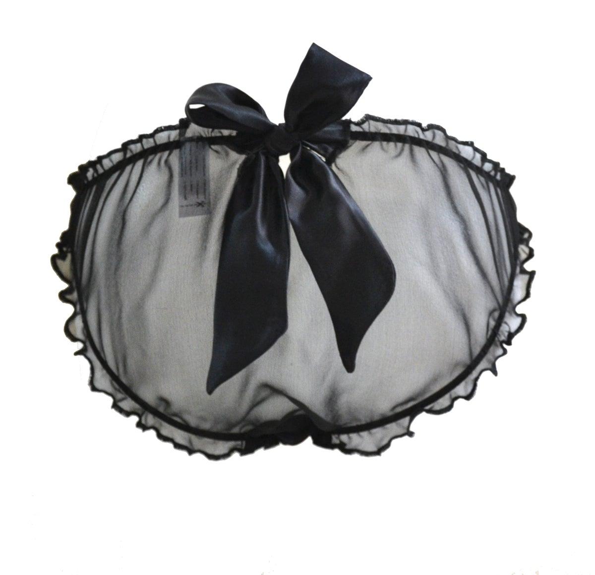 Image of BELLE Black silk Scrunchie Bow Knicker