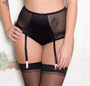 Image of ROSIE Ouvert Black Silk suspender high brief