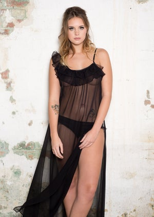 Image of ROSIE Black Silk Backless Maxi Gown