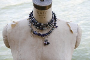 Image of Mixed Chain with faceted Amethysts and Baroque Pearl