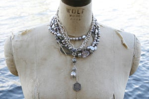 Image of Triple Wrap Grey Pearl Necklace