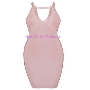 Image of Sexy Back Round V Neck Bandage Dress