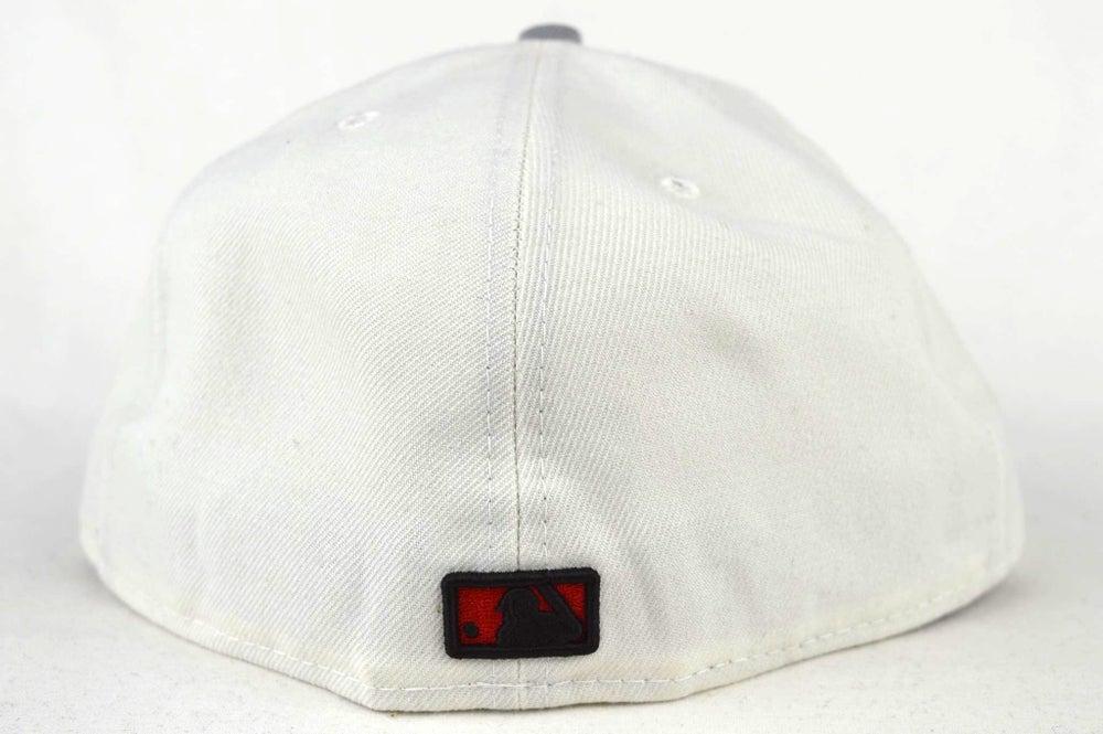 Image of TORONTO BLUE JAYS CUSTOM WHITE, BLACK, RED & GREY NEW ERA 5950 FITTED HAT