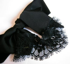 Image of NATALIA Black silk Lace Eye mask