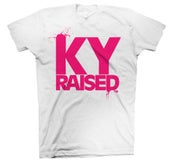 Image of KY Raised Female Tee in White & Hot Pink