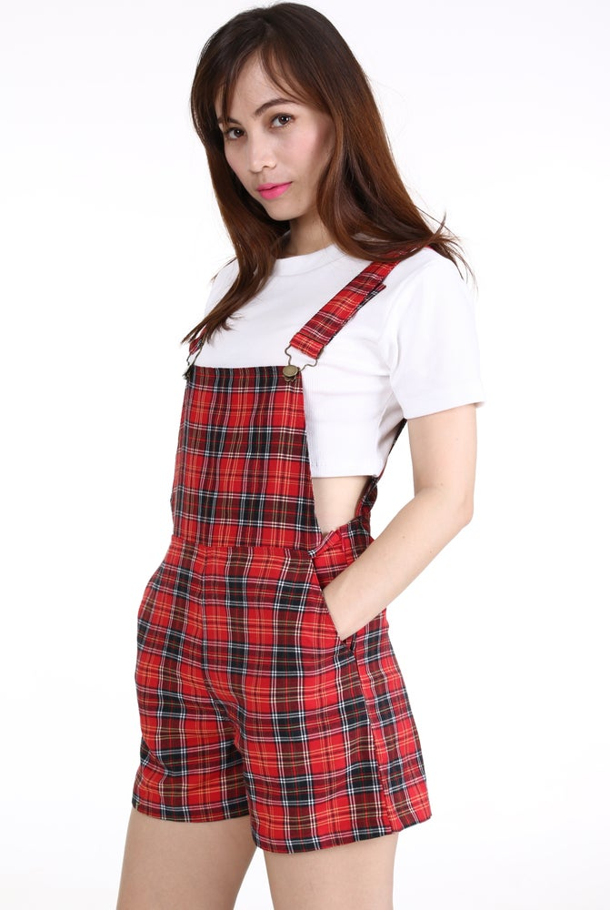 Image of PRE ORDER - Red Tartan Romper by GFD