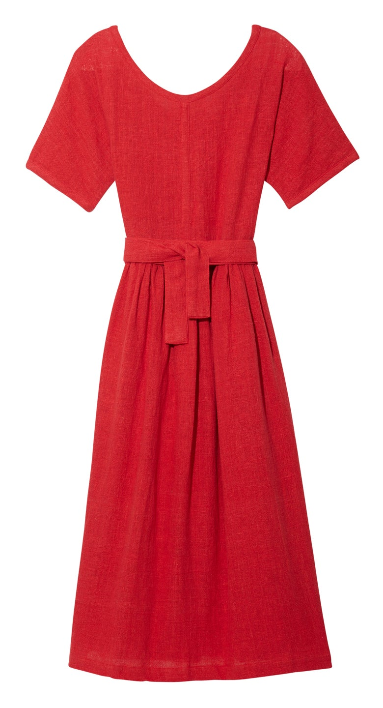 Image of SCOOP NECK DRESS RED