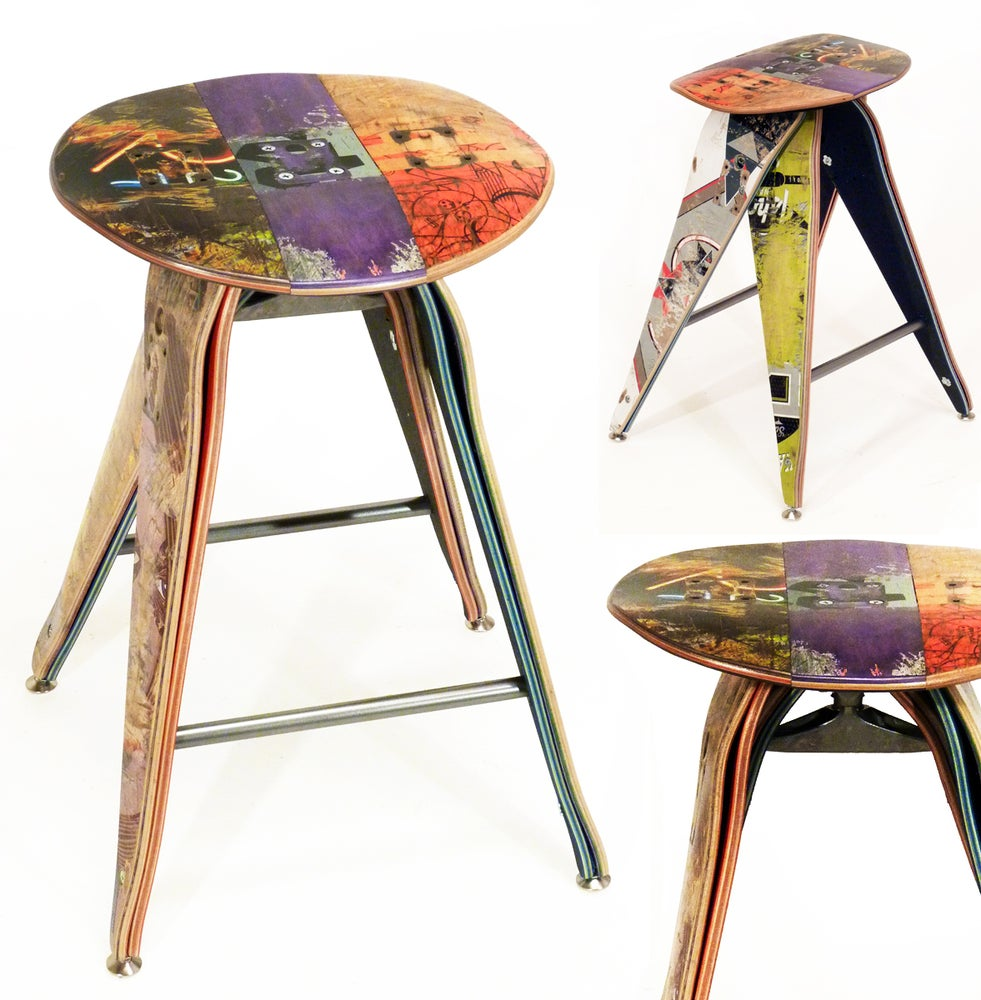 ... Image of Recycled Skateboard Barstool - 25