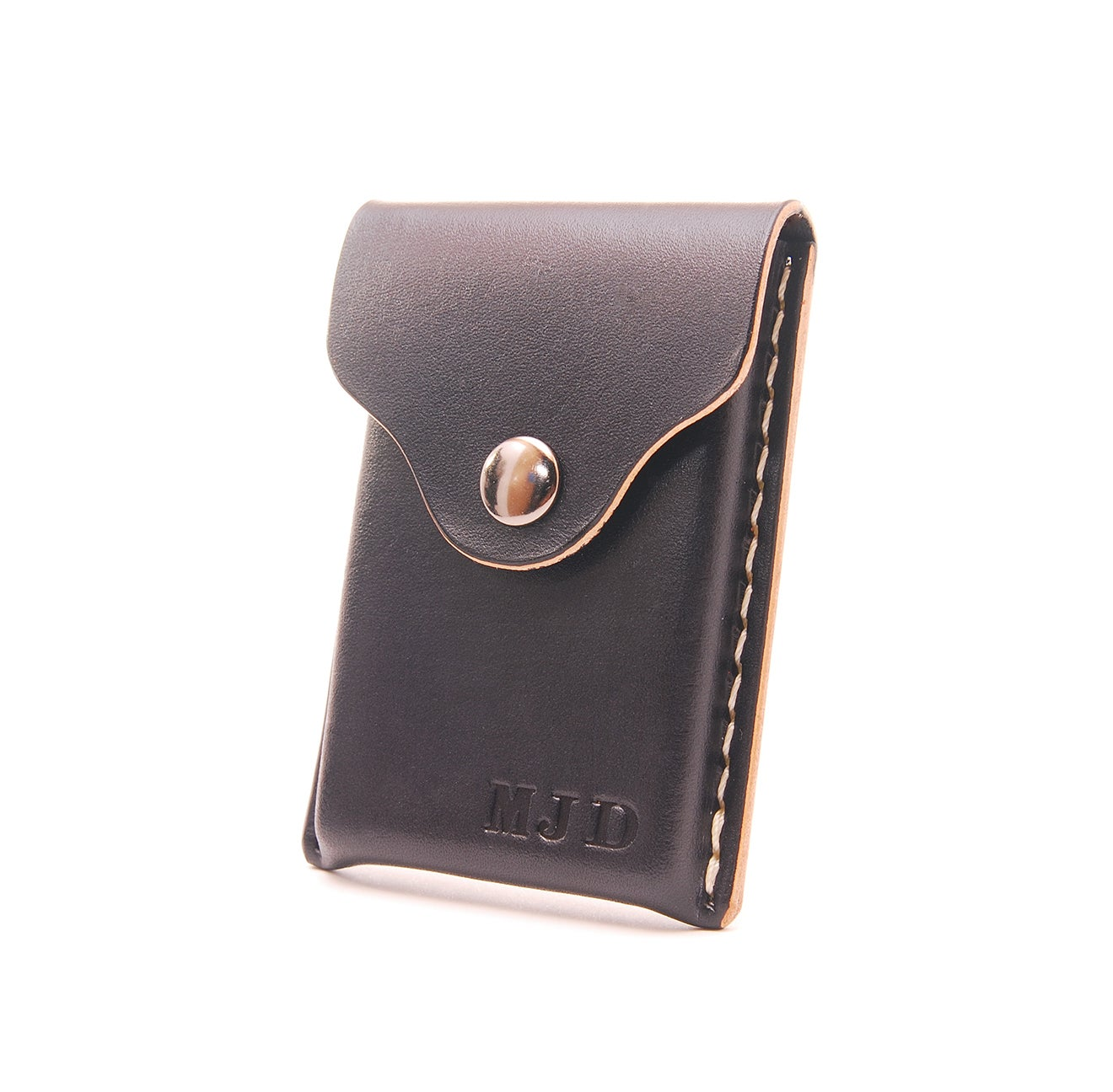 Echo six designs leather business card holder personalized for Monogrammed leather business card holder