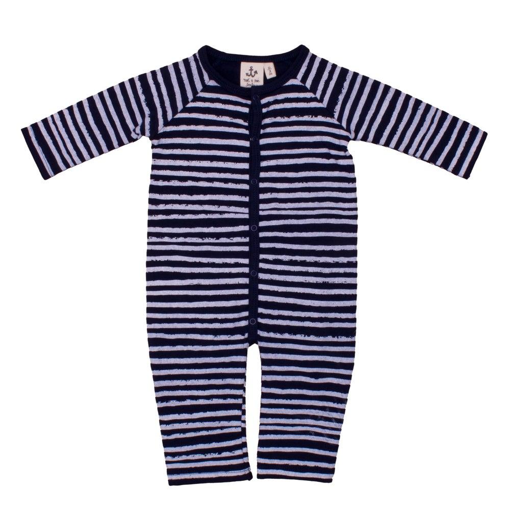 Image of AW15/16 <> Grenouillère jumpsuit bébé garçon Noé & Zoë marinière rayures bleues