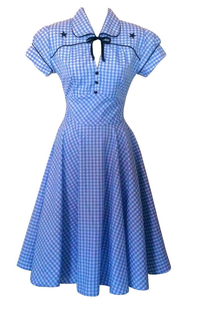 Image of Blue Gingham Swing dress