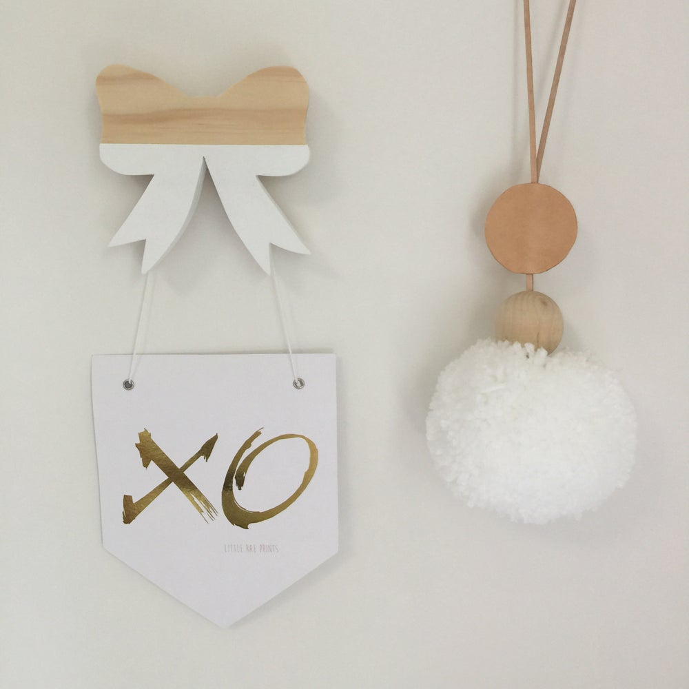 Image of Flag Print 'XO' Gold Foil