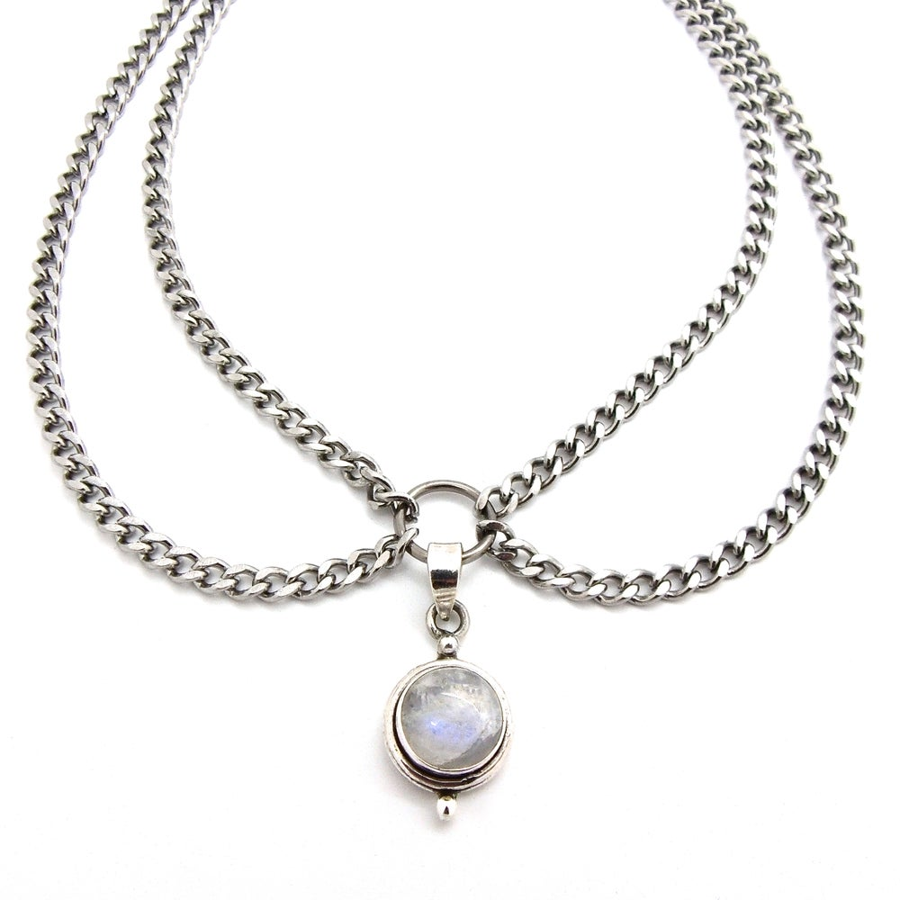 Image of Rainbow Moonstone Double Chain Choker