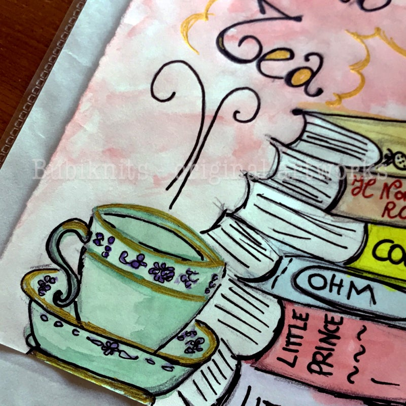 Image of Archival print of my Original Watercolor Card - Books and Tea