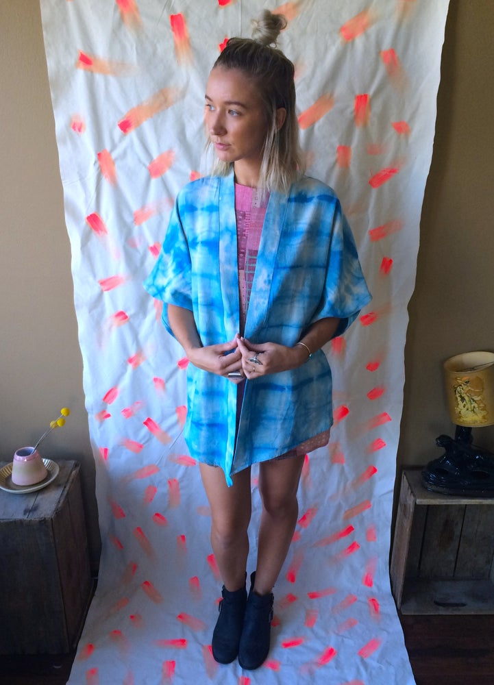 Image of St. Lucia Kimono - Light Blue Shibori