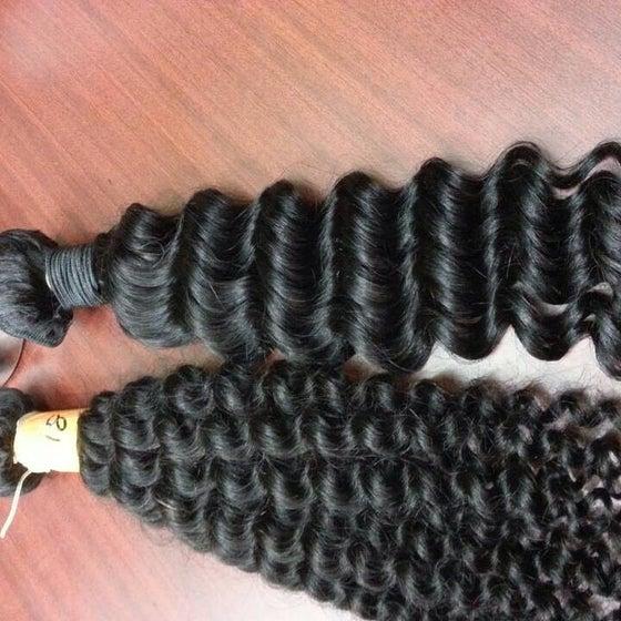 Image of 3PCS Gold+ Goddess Brazilian deep waves  or kinky shown remy virgin hair weft bundles