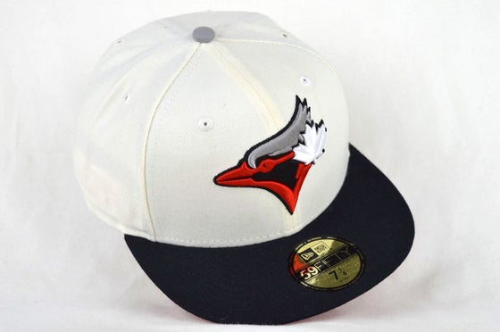 Image of TORONTO BLUE JAYS CUSTOM WHITE, BLACK, RED & GREY NEW ERA 5950 FITTED HAT