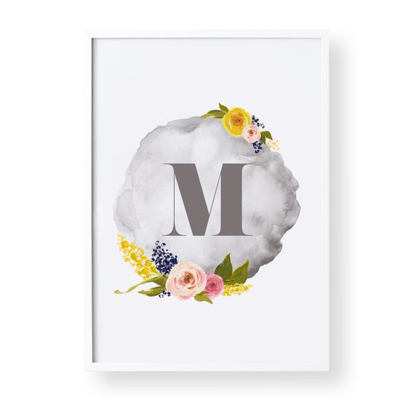 Image of Floral Initial- 2 Colour Options