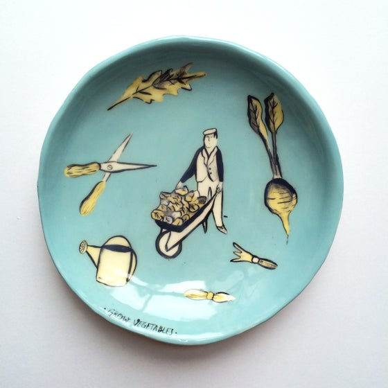 Image of Ceramic  • Grow Vegetables • plate