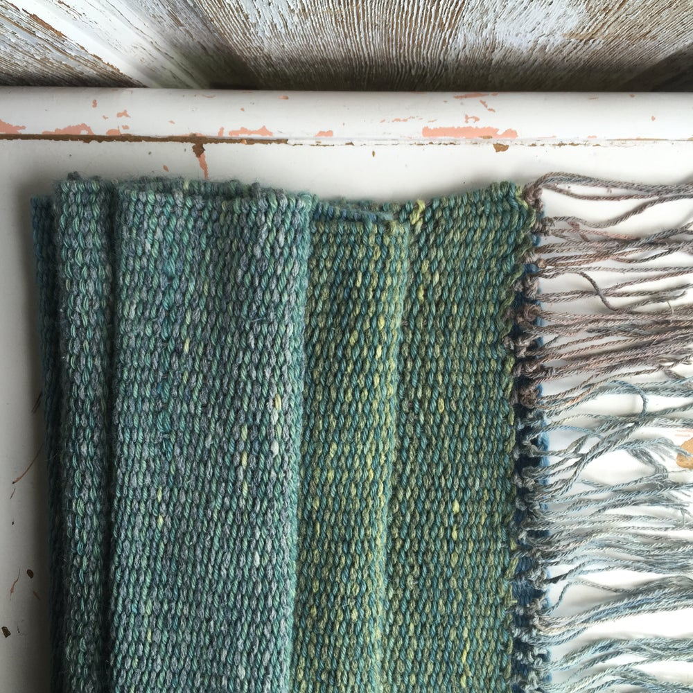 Image of Woven Cowl // handwoven natural fiber in naturally dyed indigo blues