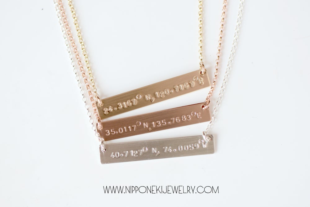 Image of Coordinates Bar Necklace, Coordinates Necklace - Longitude and Latitude