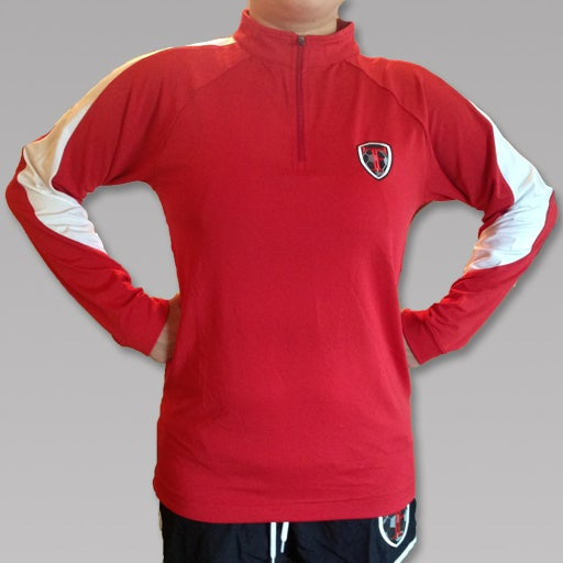 Image of Red Quarter Zip Embroidered TF Pullover - LADIES