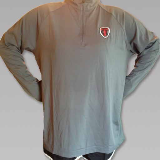 Image of Gray Quarter Zip Embroidered TF Pullover