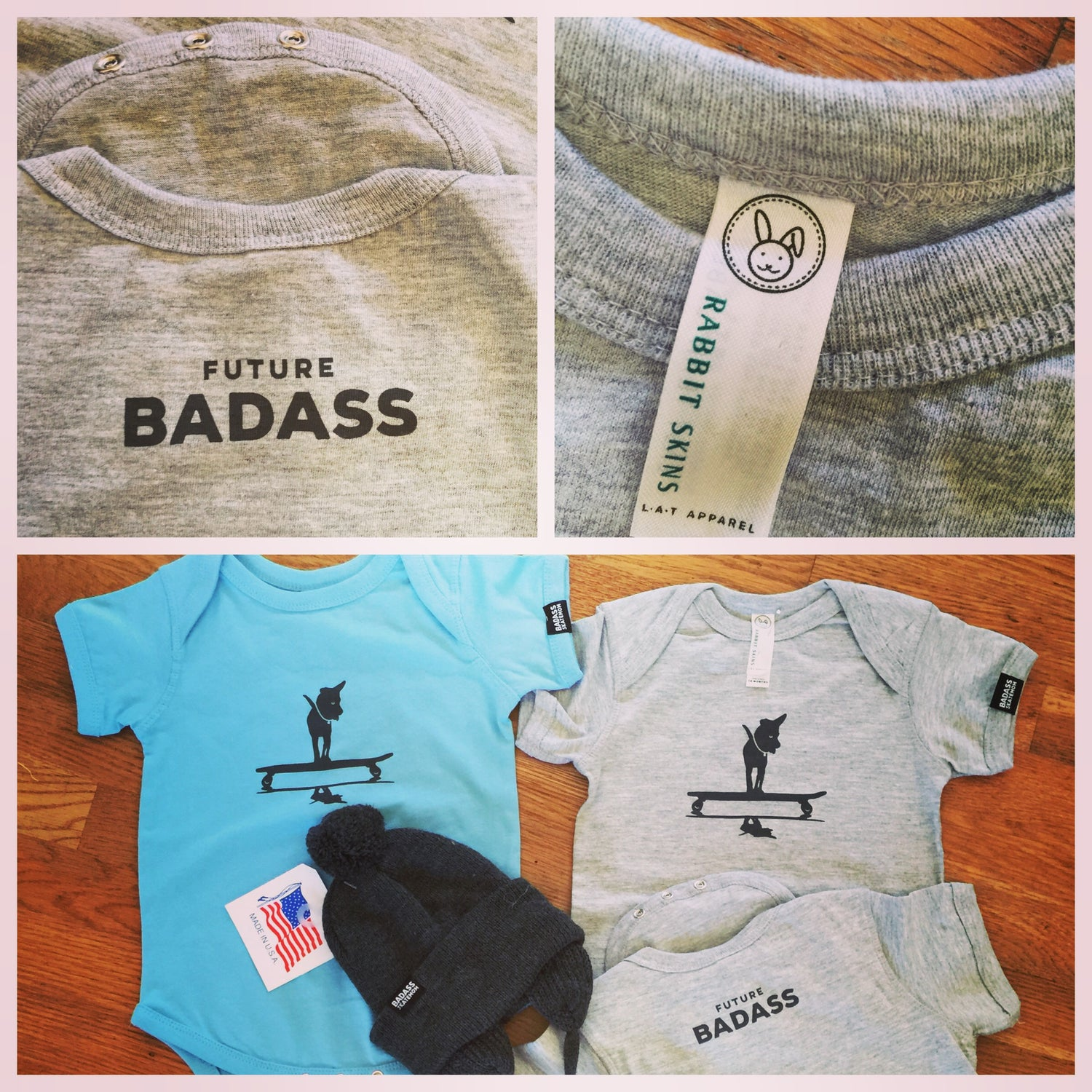 Image of Future Badass Onesie Heather 1 left 24 month Gray