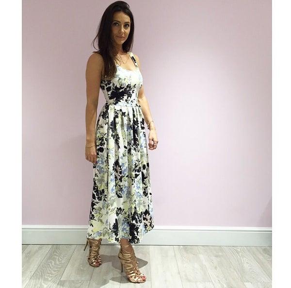 Image of Smudge Print Floral Full Skirt Midi Dress