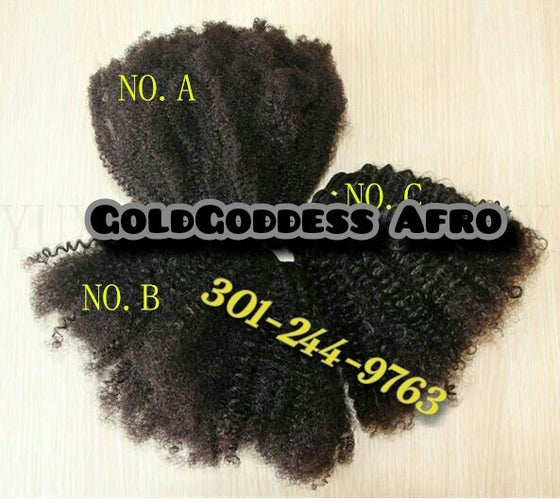 Image of 8A Natural  kinky afro curly  4A/4A/4C/3A/3c natural hair weave textures  for black women