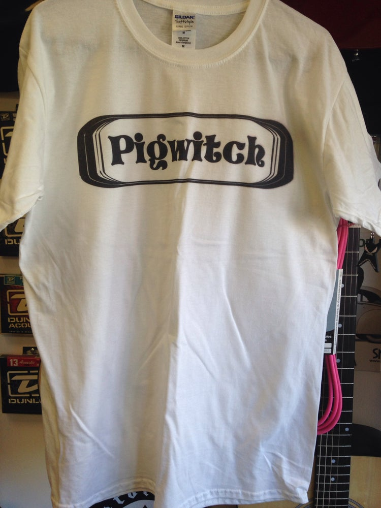 Image of Black logo on white Gildan medium shirt