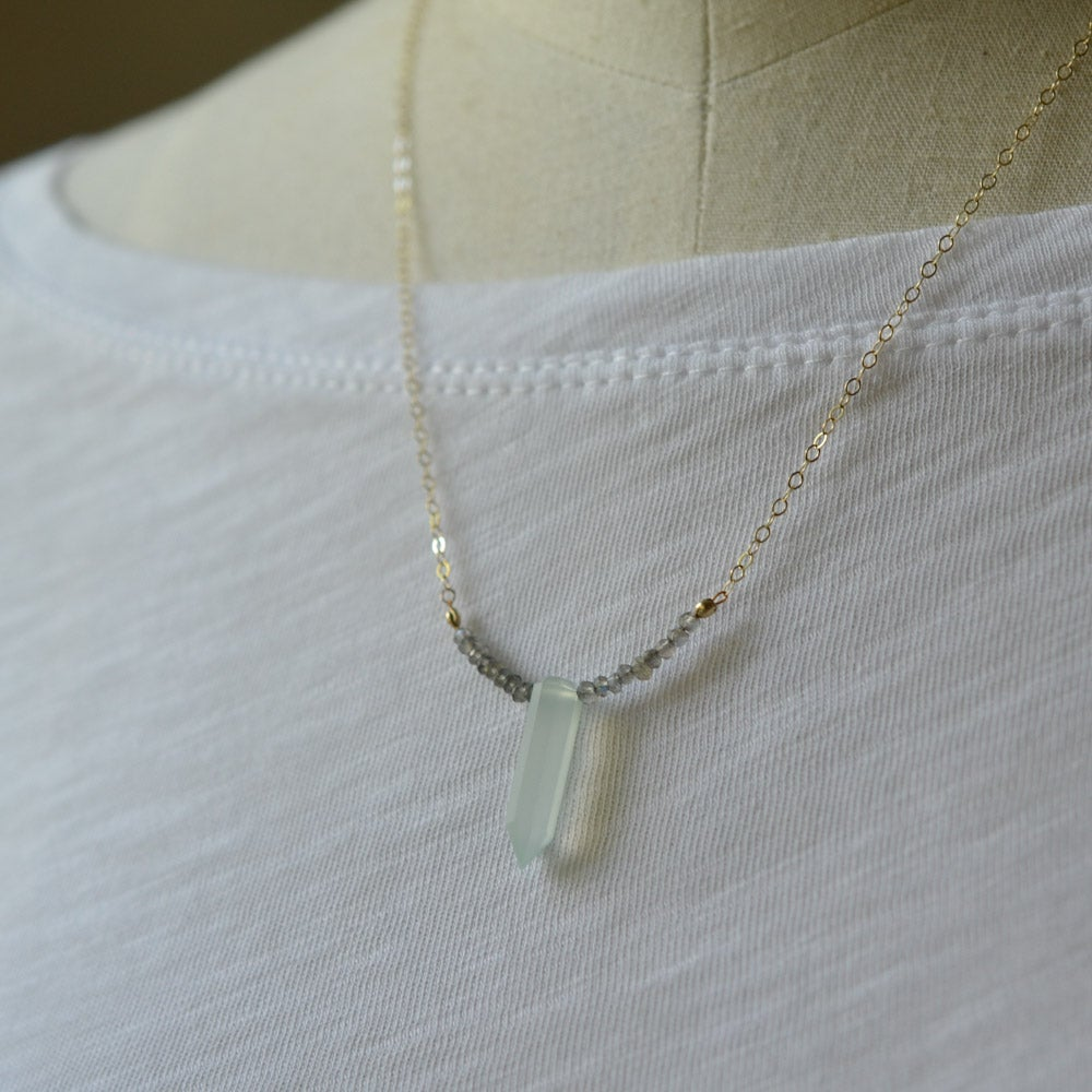 Image of Gemstone spike necklace with labradorite