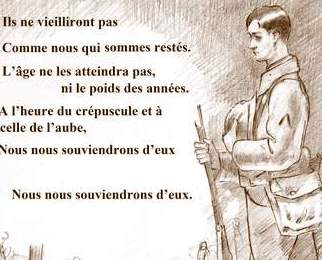 Image of 'For the Fallen' by Laurence Binyon ( French text )