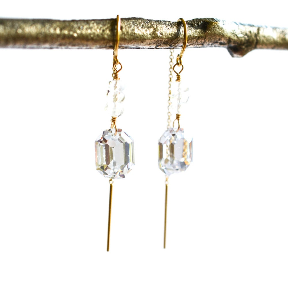 Image of Octagon cubic zirconia rainbow moonstone earrings, bridal jewelry