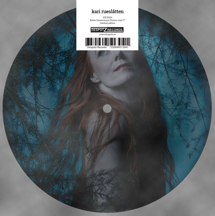 Image of Kari Rueslåtten - Battle Forevermore 7″ vinyl picture disc.