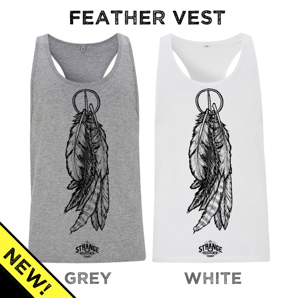 Image of Feathers Racerback Vest - Grey or White