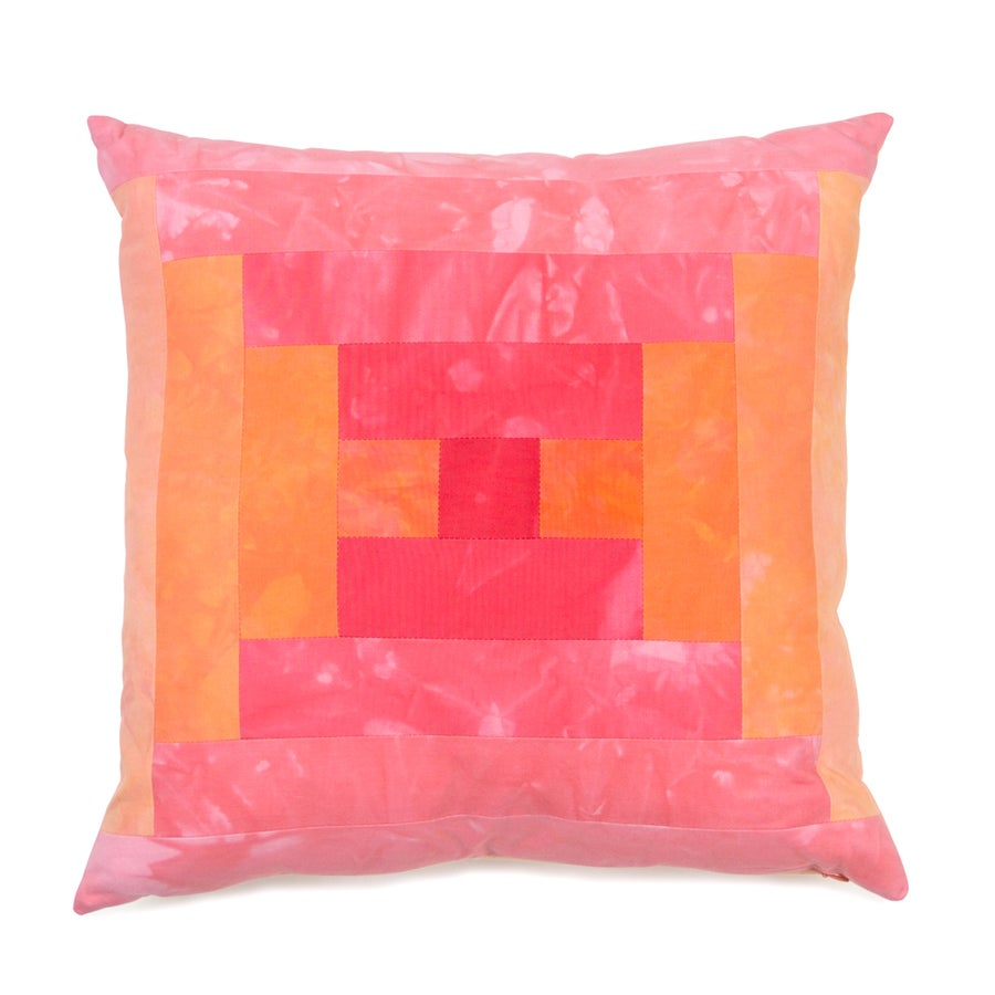 Image of Steps Pillow - Pink and Orange I