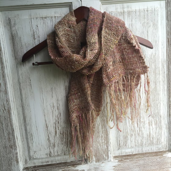 Image of Woven Scarf // handwoven, handspun natural fiber with sparkle from Emma the Pink